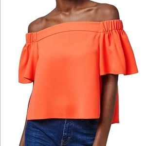 TopShop Orange Off the Shoulder Crop Top Size 2